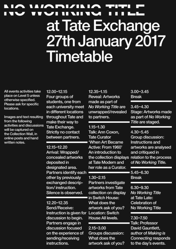 No Working Title at Tate Exchange - timetable